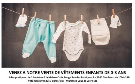 Vente de vêtements pour enfants de 0 à 3 ans