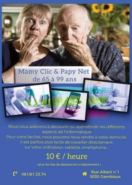 affiche cours particuliers papy clic et mamy net