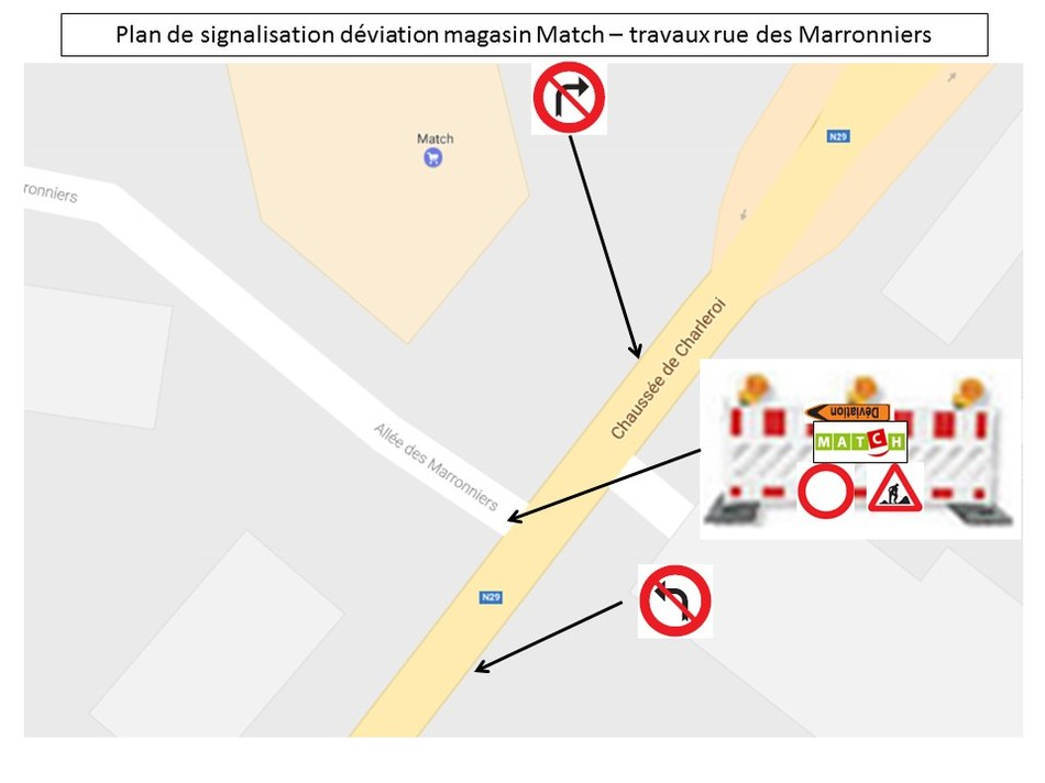 plan de déviation Match   travaux rue des Marronniers